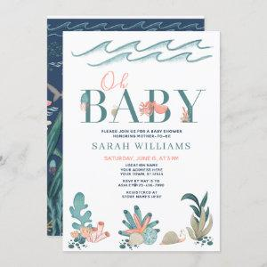 Under the Sea Teal Watercolor Oh Baby Shower Invitation