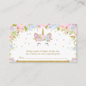Unicorn Baby Shower Diaper Raffle Floral Baby Girl Enclosure Card