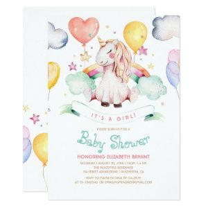 Unicorn Baby Shower Invitation | It's a Girl