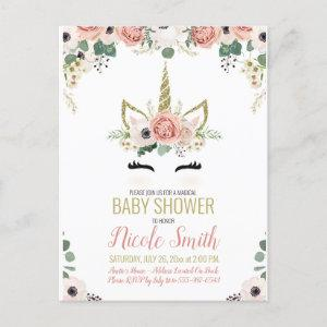 Unicorn Baby Shower Pink Gold Floral Watercolor Invitation Postcard
