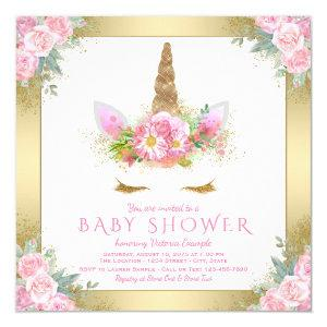 Unicorn Face Pink Gold Baby Shower Invitations