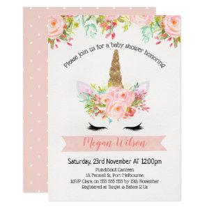 Unicorn Floral  Baby Shower Invitation