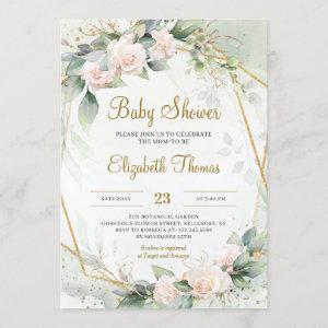 Unique Blush Pink Floral Greenery Gold Frame Baby Invitation