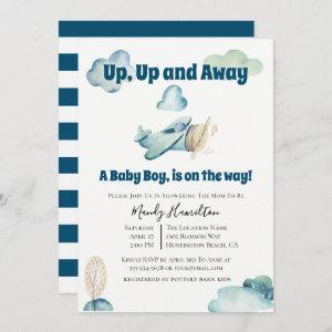 Up And Away Airplane Baby Shower Invitation