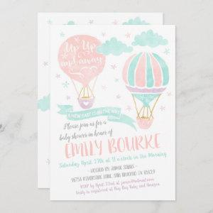 Up Up and Away Baby Shower Hot Air Balloon Invitation