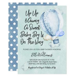 Up Up And Away Elephant Baby Shower Invitation