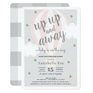 Up Up and Away Hot Air Balloon Pink Baby Shower Invitation