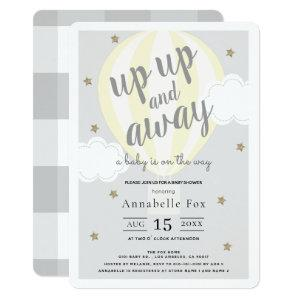 Up Up and Away Hot Air Balloon Yellow Baby Shower Invitation