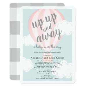 Up Up and Away Pink Hot Air Balloon Shower by Mail Invitation