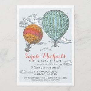Up Up and Away Vintage Hot Air Balloon Baby Shower Invitation