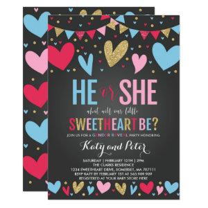 Valentine Gender Reveal Party Sweetheart Reveal Invitation