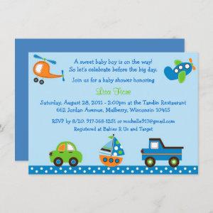 Vehicle Car Truck Baby Shower Invitation