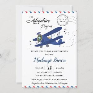Vintage Aeroplane Plane Blue Gold Boy Baby Shower Invitation