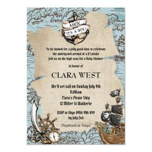 Vintage Ahoy It's a Boy Pirate Baby Shower Map Invitation