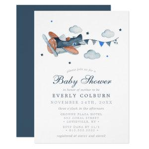 Vintage Airplane Clouds Watercolor Boy Baby Shower Invitation