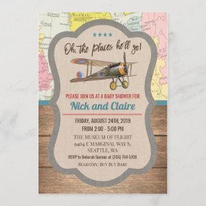 Vintage Airplane Map Boy Baby Shower Invitation