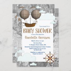 Vintage Airship & Clouds World Travel Baby Shower Invitation