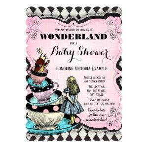 Vintage Alice in Wonderland Baby Shower Invitation