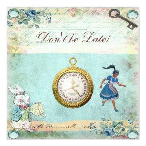 Vintage Alice in Wonderland Baby Shower Tea Party Invitation