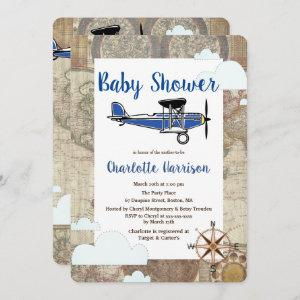 Vintage Aviator Airplane World Travel Baby Shower Invitation