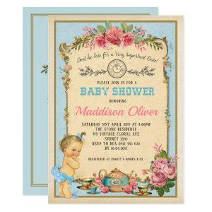 Vintage Baby Alice in Wonderland Tea Party Invite
