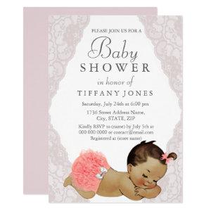 Vintage Baby Pink Lace Baby Shower Invite