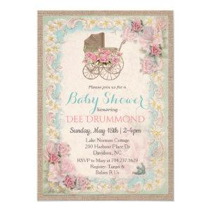 Vintage Baby Shower Carriage Floral Invitation