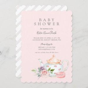 Vintage Baby Tea Party French Macaron & Floral Invitation