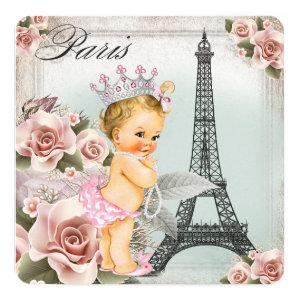 Vintage Blonde Princess Paris Baby Shower Invitation