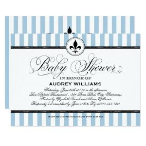Vintage Blue Fleur de Lis | French Baby Shower Invitation