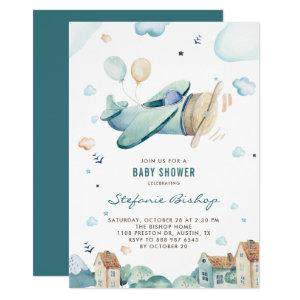 Vintage Blue Watercolor Airplane Boy Baby Shower Invitation
