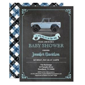 Vintage car baby boy shower inviation. Chalkboard. Invitation