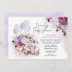 Vintage Car Purple Floral Drive Thru Baby Shower Invitation