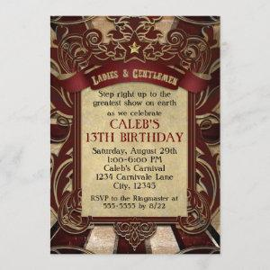 Vintage Circus Carnival Elegant Wedding Invitation