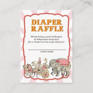 Vintage Circus Diaper Raffle Tickets Enclosure Card