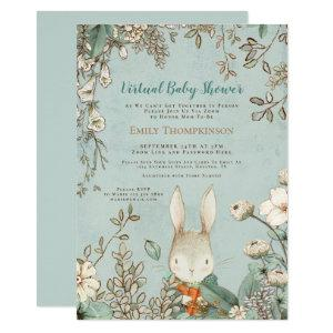 Vintage Cute Bunny Floral Leaf Virtual Baby Shower Invitation