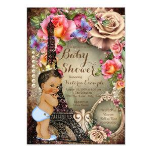 Vintage Ethnic Prince Paris Baby Shower Invitation