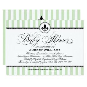 Vintage Green Fleur de Lis | French Baby Shower Invitation