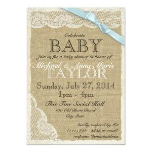 Vintage Lace and Bow Baby Shower Blue Invitation