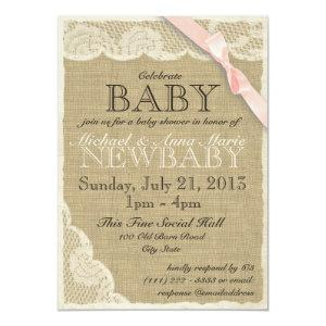 Vintage Lace and Bow Baby Shower Blush Pink Invitation