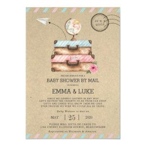 Vintage Long Distance Baby Shower by Mail Suitcase Invitation