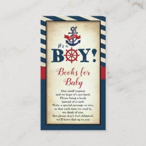 Vintage Nautical Boy Baby Shower Books for Baby Enclosure Card