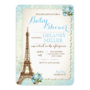 Vintage Paris Baby Shower Boy Invitations