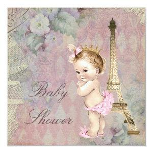 Vintage Paris Princess Floral Baby Shower Invitation