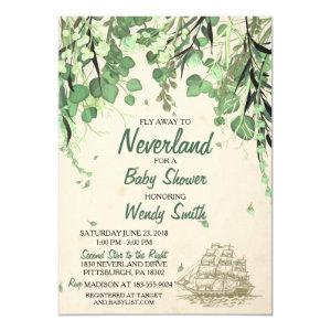 Vintage Peter Pan Neverland Baby Shower Invitation