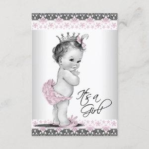 Vintage Pink and Gray Baby Girl Shower Invitation