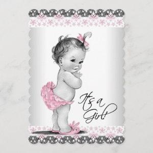 Vintage Pink and Gray Baby Girl Shower