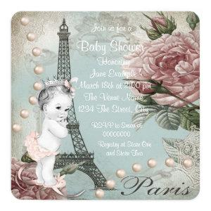 Vintage Pink Paris Baby Shower Invitation