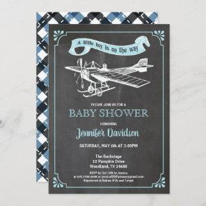 Vintage plane baby boy shower inviation invitation