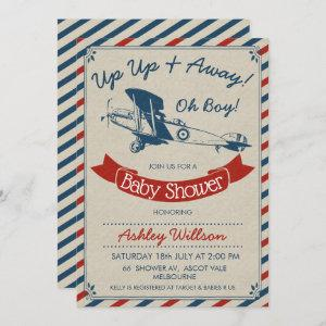 Vintage Plane Baby Shower Invitation For Boy